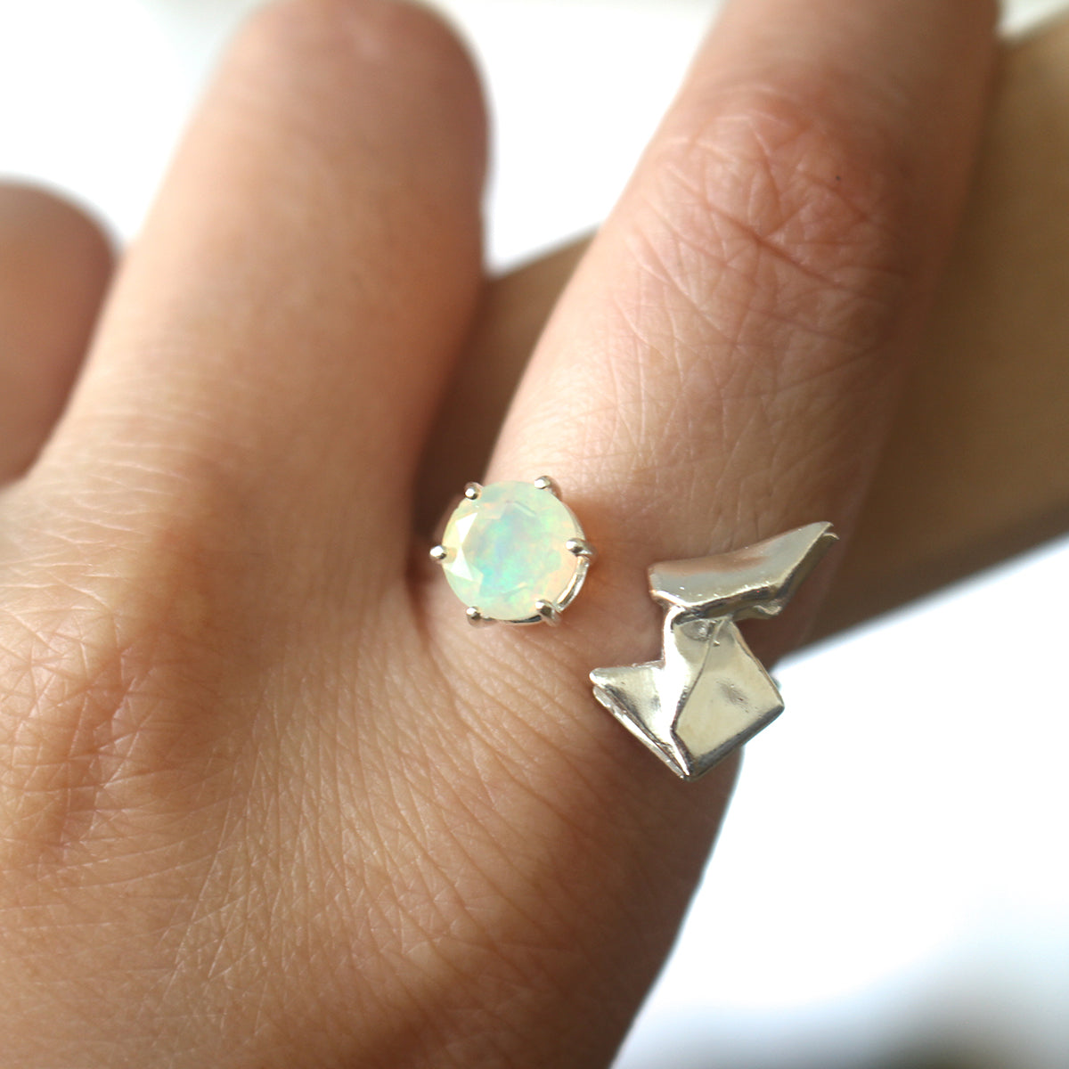 Rabbit and the Moon - 925 Silver Origami Rabbit Fire Opal Ring