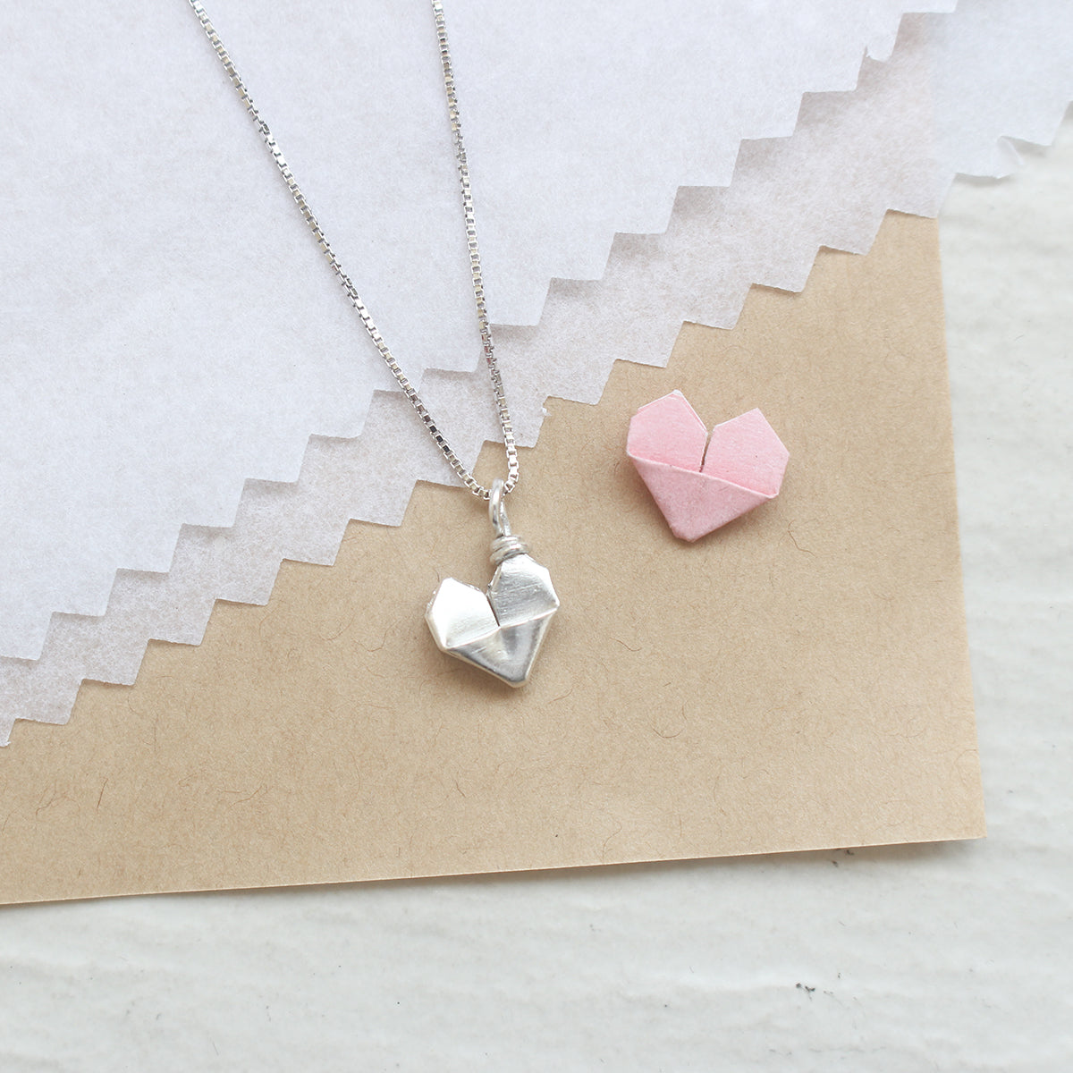 Silver Origami Mini Heart Necklace (8mm)