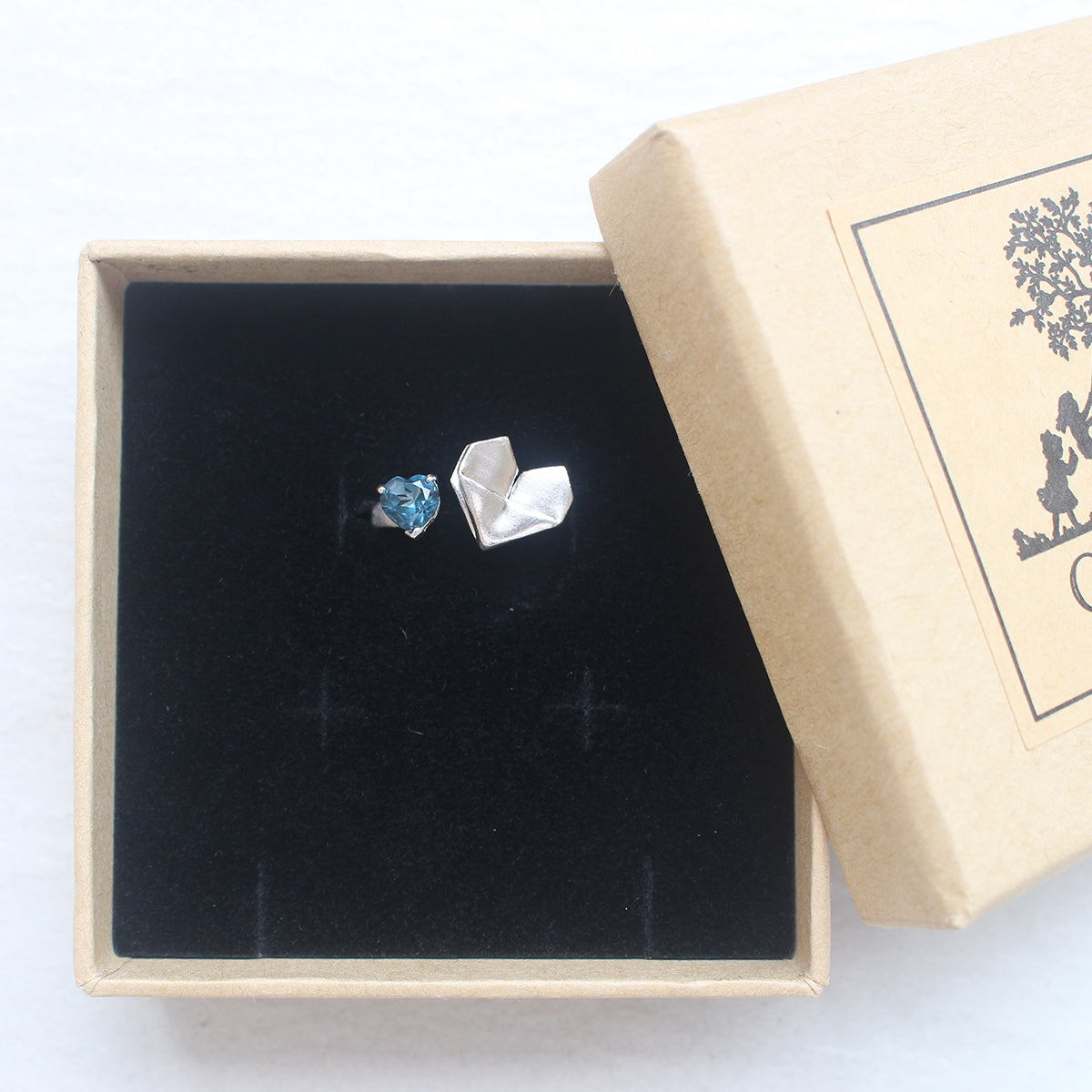 925 Silver Origami Heart and London Blue Topaz Ring