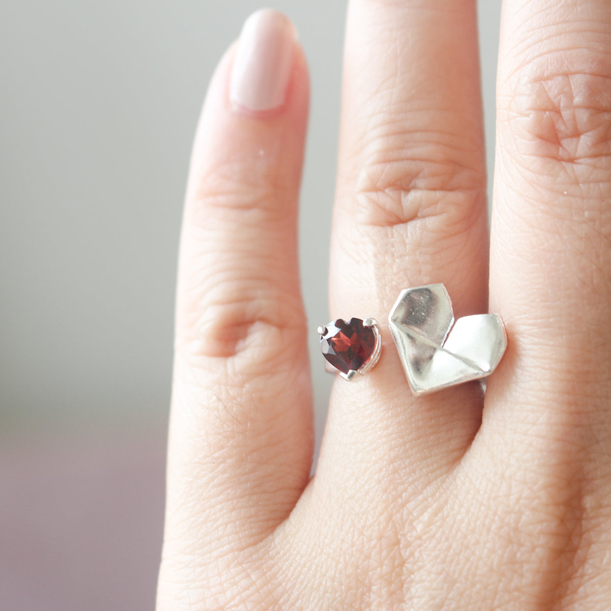 925 Silver Origami Heart Open Ring with Natural Heart Shaped Red Garnet