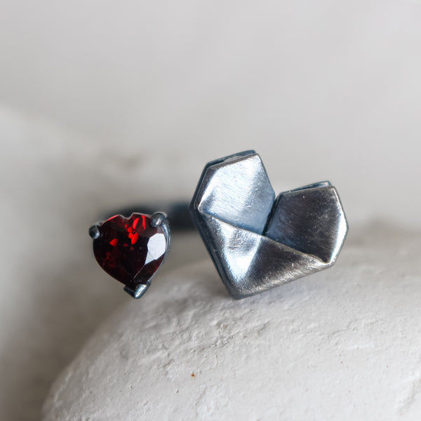 925 Black Silver Origami Heart Open Ring with Natural Heart Shaped Red Garnet