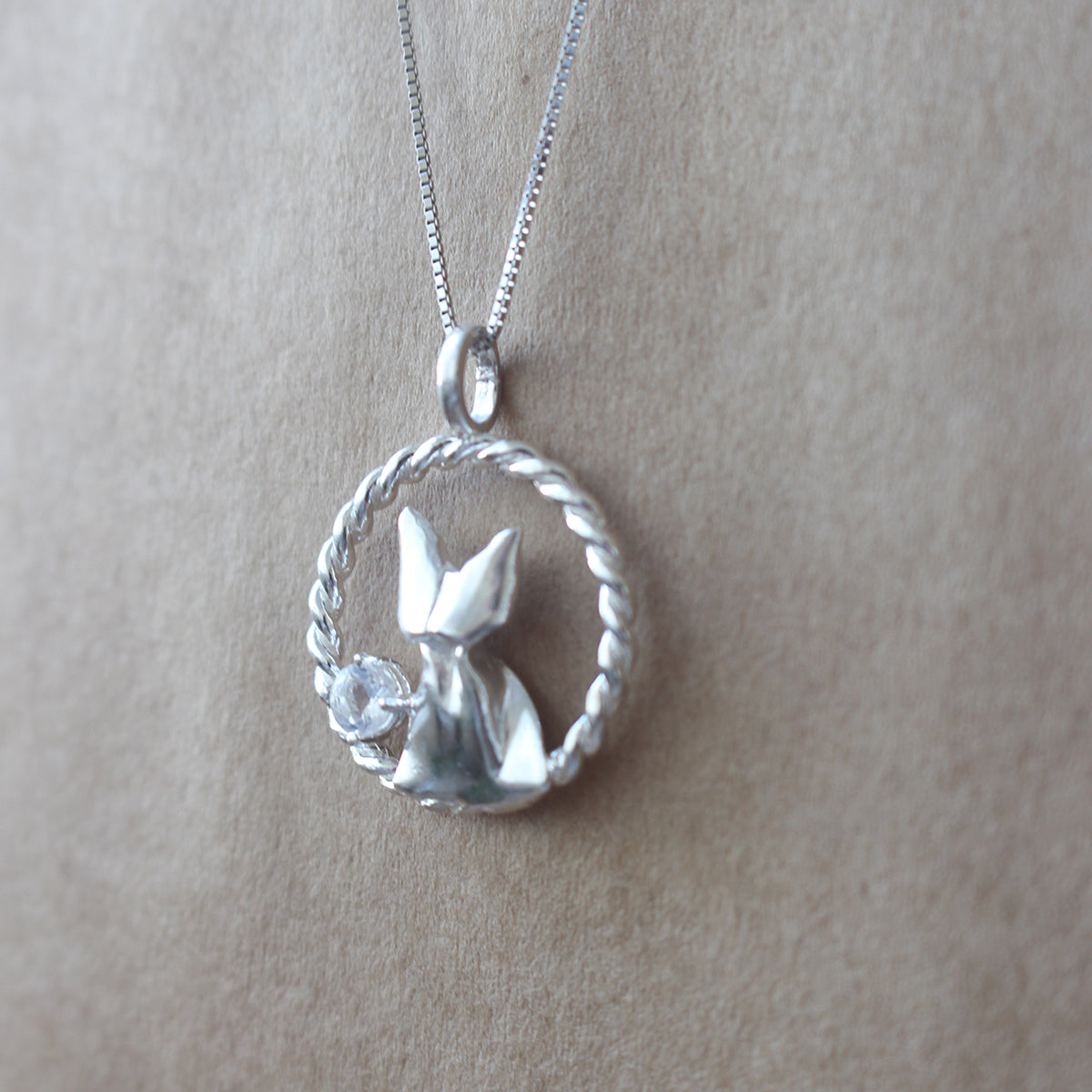 925 Silver Origami Cat and Moonstone Necklace