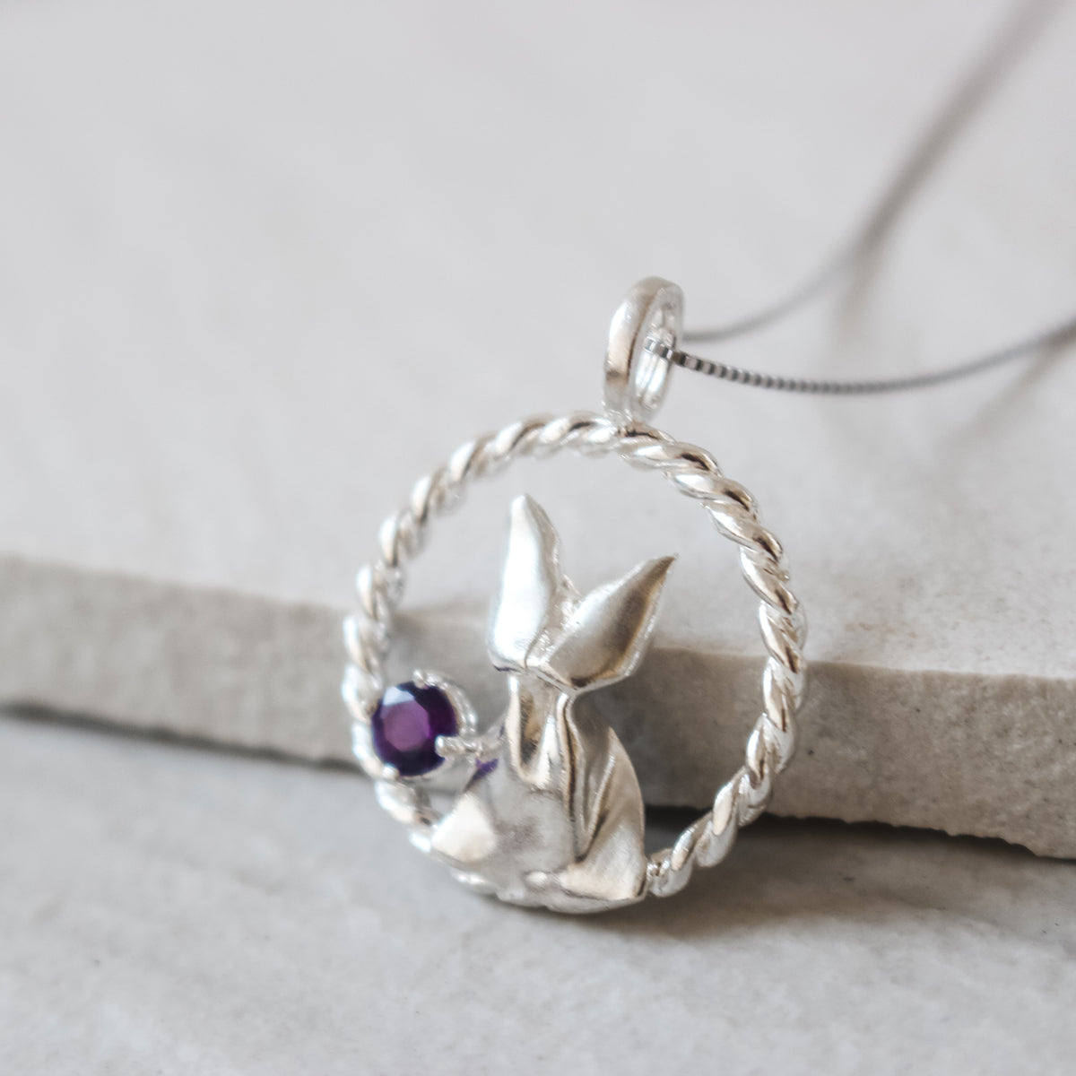 925 Silver Origami Cat and Amethyst Necklace