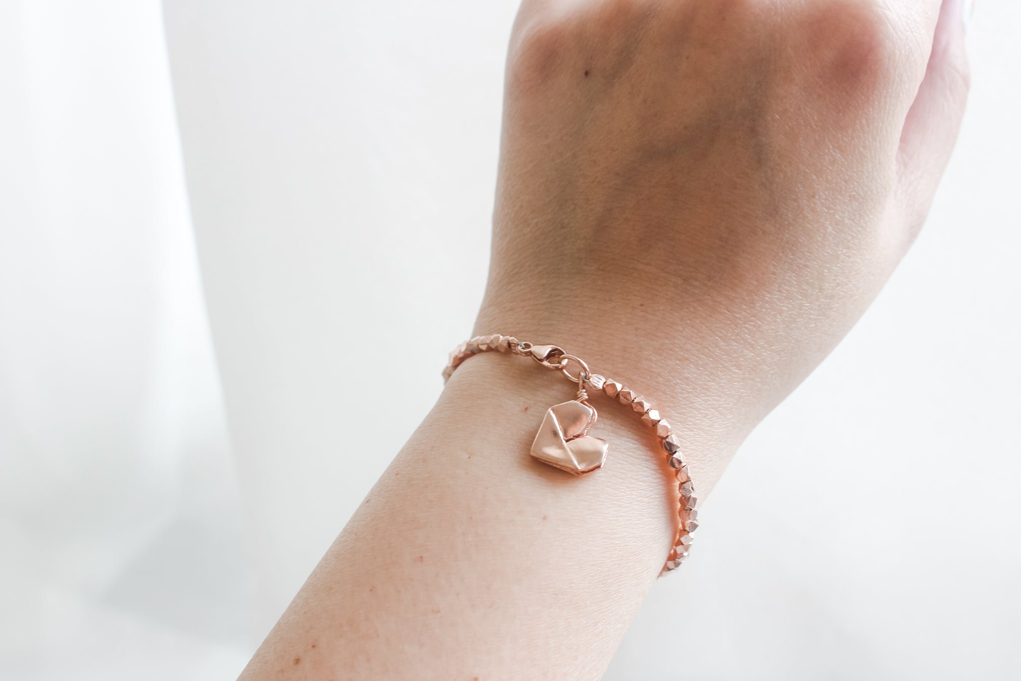 Rose Gold Plated Sterling Silver Origami Heart Gold Sand Bracelet