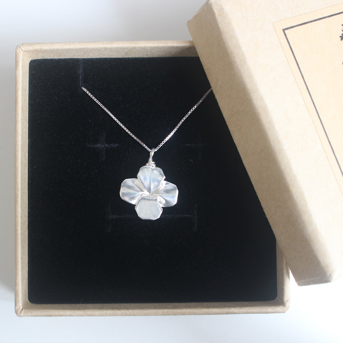 925 Silver Origami Clover Necklace