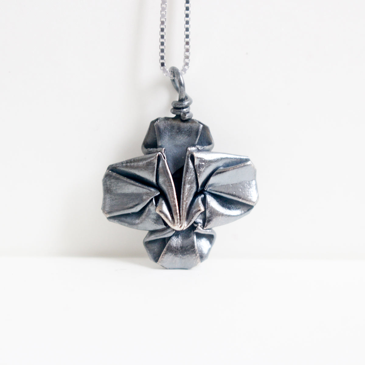 925 Black Silver Origami Clover Necklace