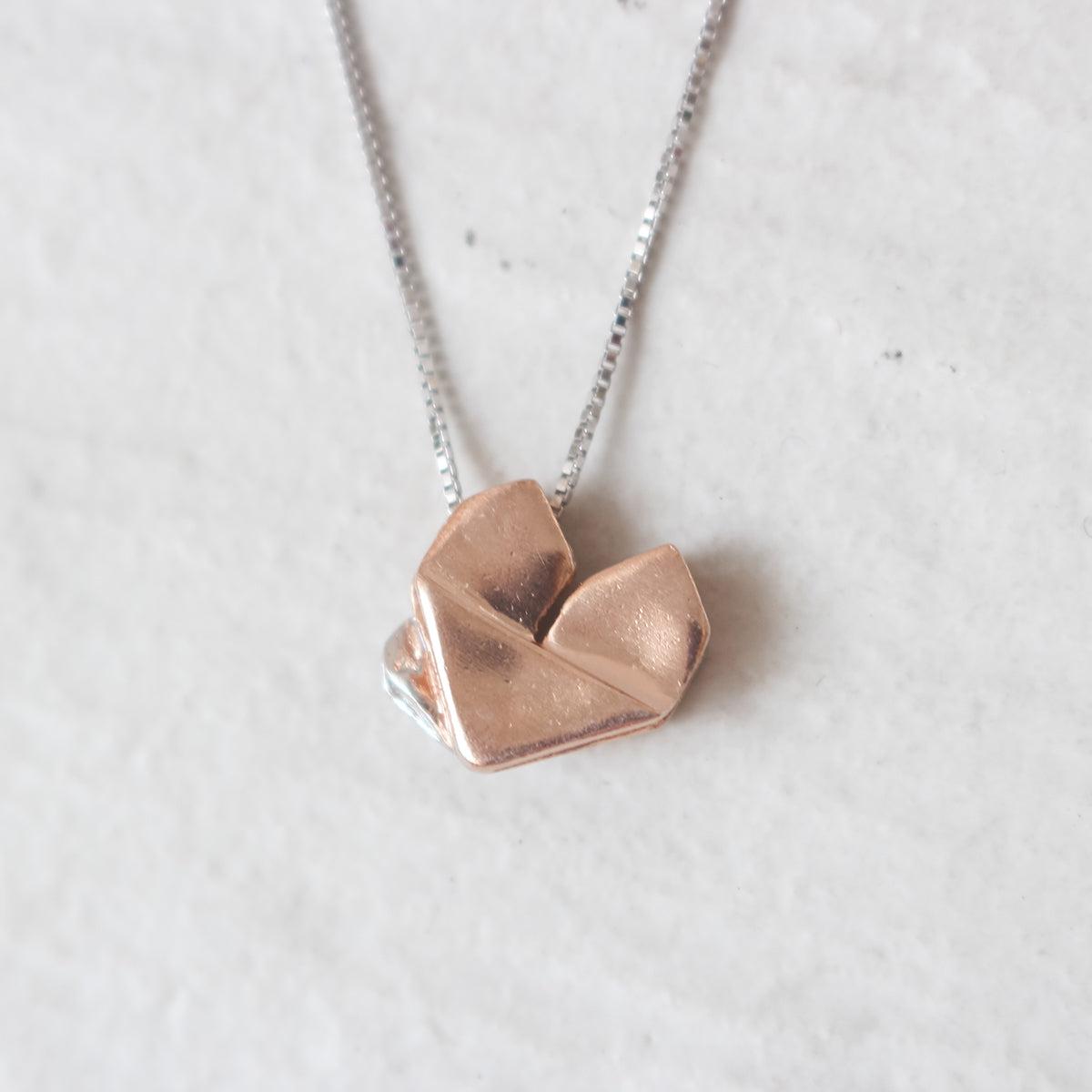 Dual Color Silver Origami Heart Necklace - Mother's Love (Rose Gold and Silver)