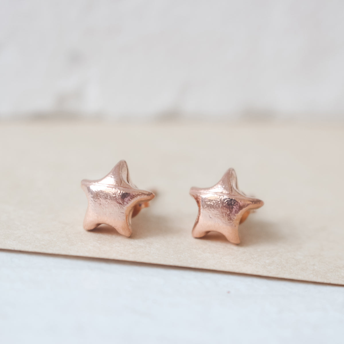 Rose Gold Plated 925 Sterling Silver Origami Lucky Star Earrings