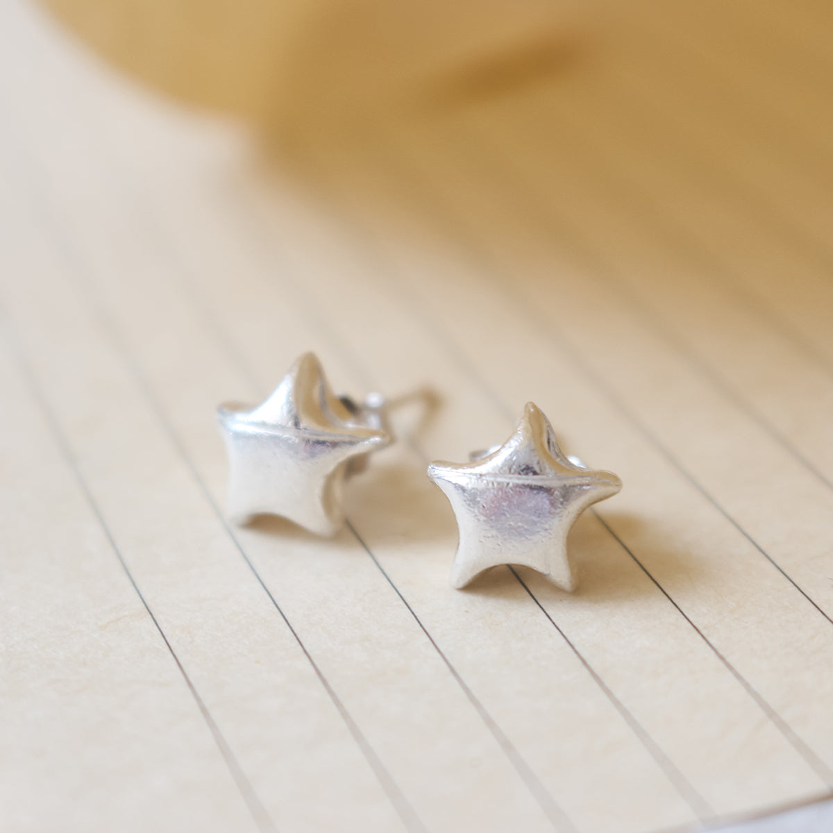 Lucky Star Origami Silver Stud Earrings/Silver Star Stud Earrings/Silver Paper Star Earrings