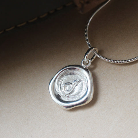 Sterling Silver Wax Seal Necklace - Initial Monogram J