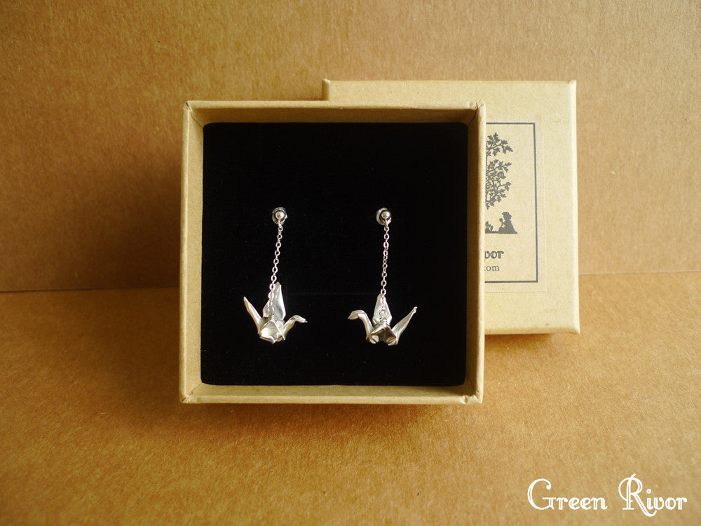Origami Crane Dangling Earrings in Sterling Silver