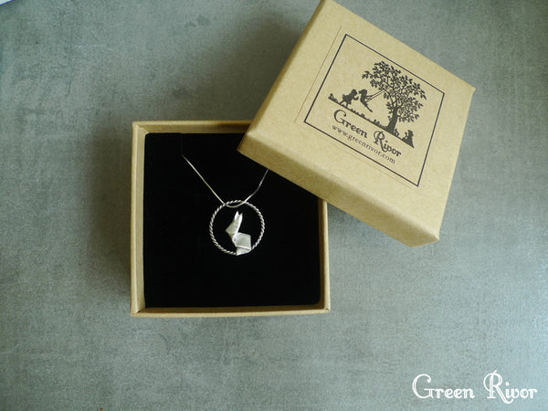 Origami Rabbit Moon Necklace Silver Paper Folded