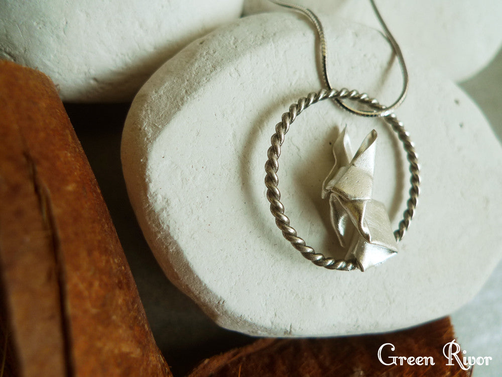 Origami Rabbit & Moon Necklace / Silver Rabbit & Moon Necklace / Paper-folded Rabbit Necklace / Animal Necklace