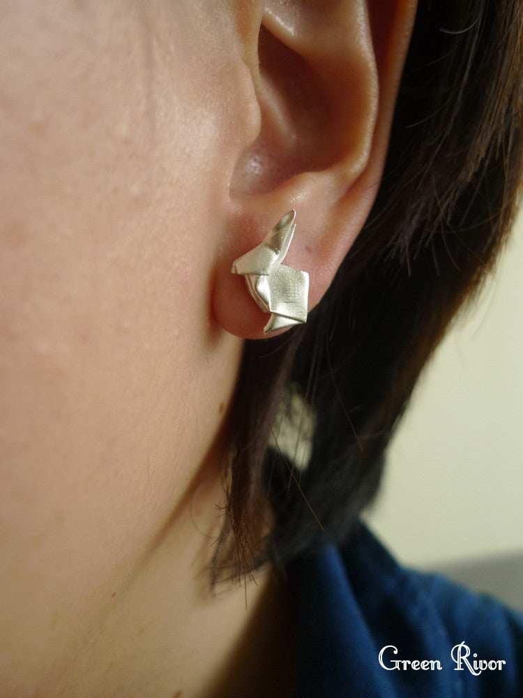 Origami Rabbit Earrings / Silver Rabbit Stud Earrings / Paper-folded Rabbit Earrings / Animal Earrings
