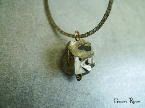 "Bold Pyrites ""Fool Gold"" Olive Green Mesh Necklace"