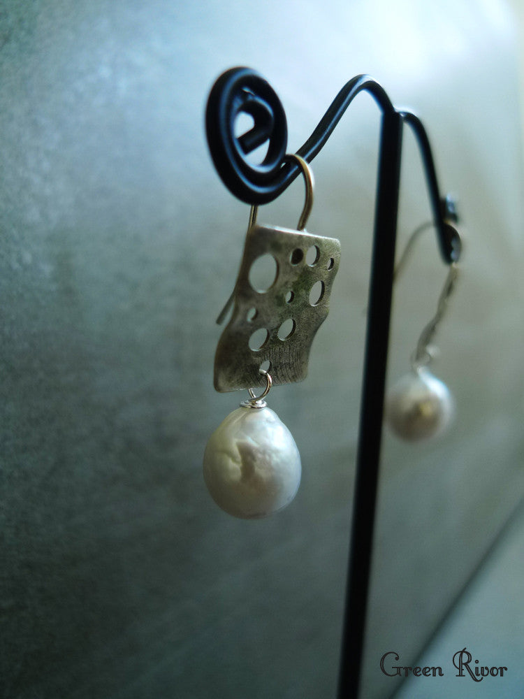 Antique Italian Brass Dangled with Baroque Pearls Earrings