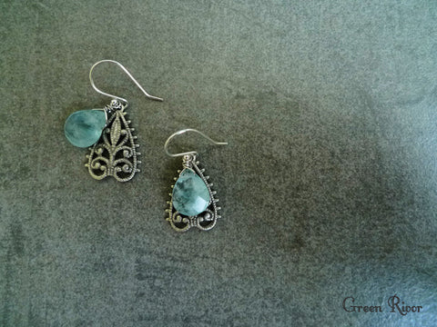 Tear Drop Oceanic Blue Chalcedony Filigree  Earrings