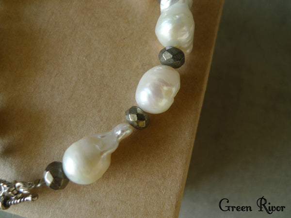 Peculiar Baroque Pearl Bracelet with Pyrites