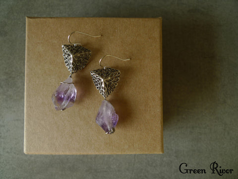 Raw Amethyst Earrings, Vintage Filigree Earrings with Raw Amethyst