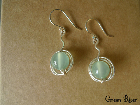 Apple Chalcedony Sterling Silver Wiring Earrings