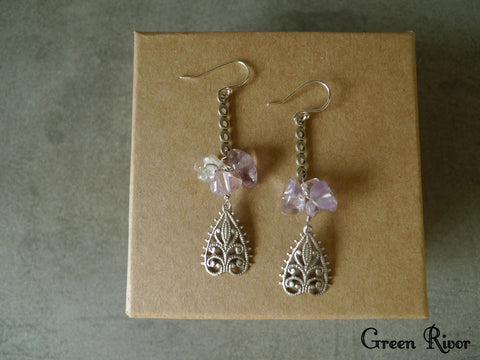 Light Purple Amethyst Filigree Dangling Earrings