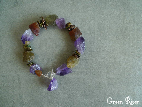 Raw Amethyst and Raw Garnet Bracelet with Green Keshi Pearl / Multi Color Raw Crystal Fruity Bracelet