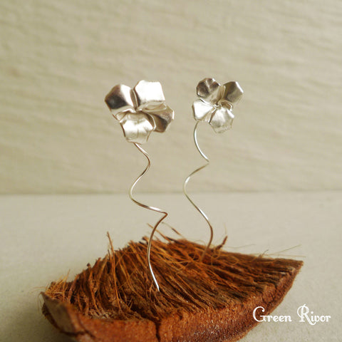 Origami Clover Earrings in Sterling Silver