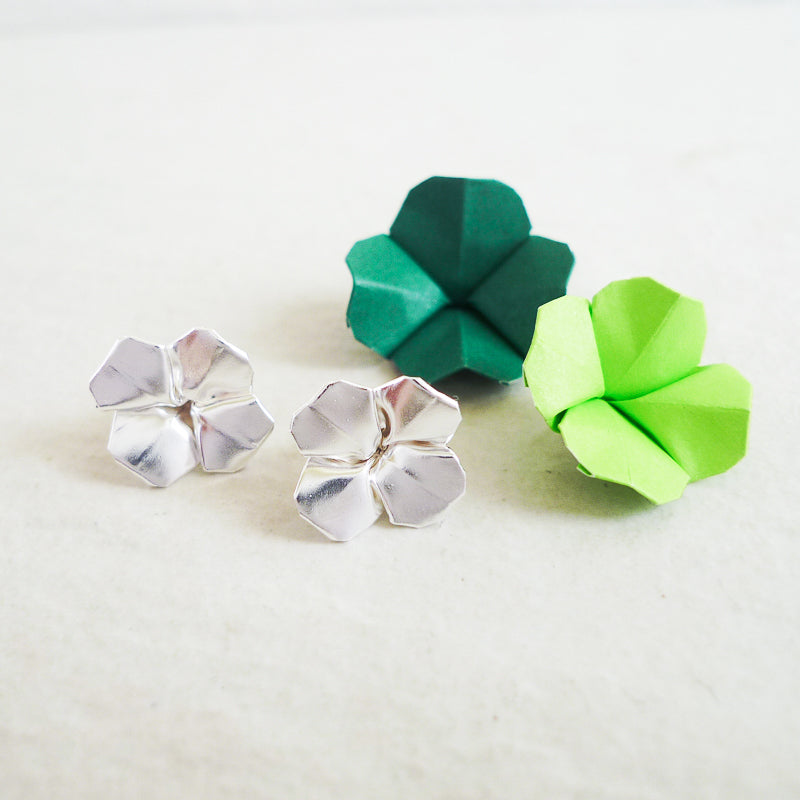 Silver Origami Clover Stud Earrings / Origami Shamrock Earrings