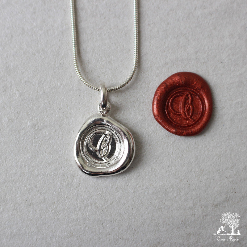 Sterling Silver Wax Seal Necklace - Initial Monogram C