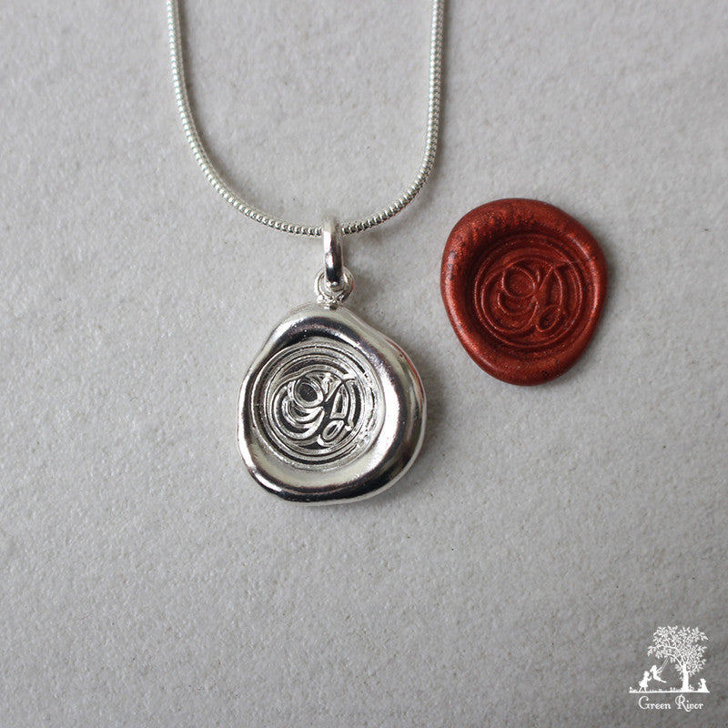 Sterling Silver Wax Seal Necklace - Initial Monogram D