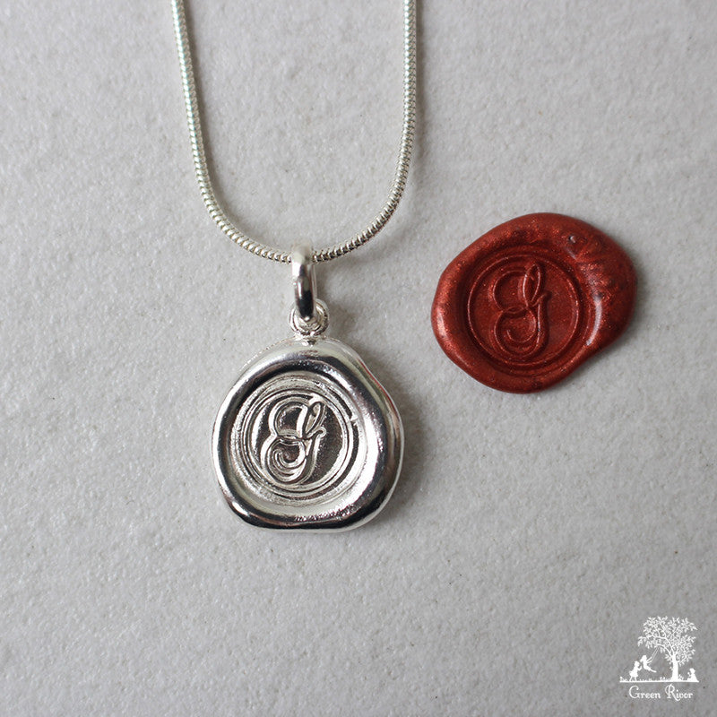 Sterling Silver Wax Seal Necklace - Initial Monogram G