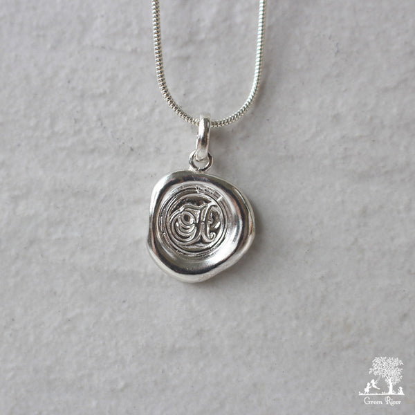 Sterling Silver Wax Seal Necklace - Initial Monogram H