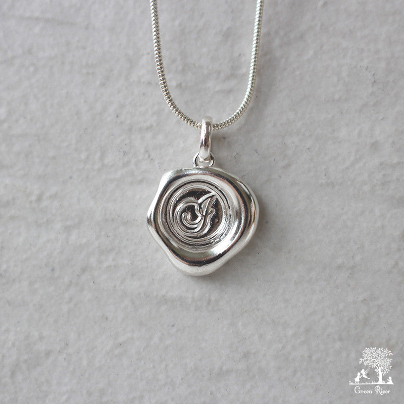 Sterling Silver Wax Seal Necklace - Initial Monogram I