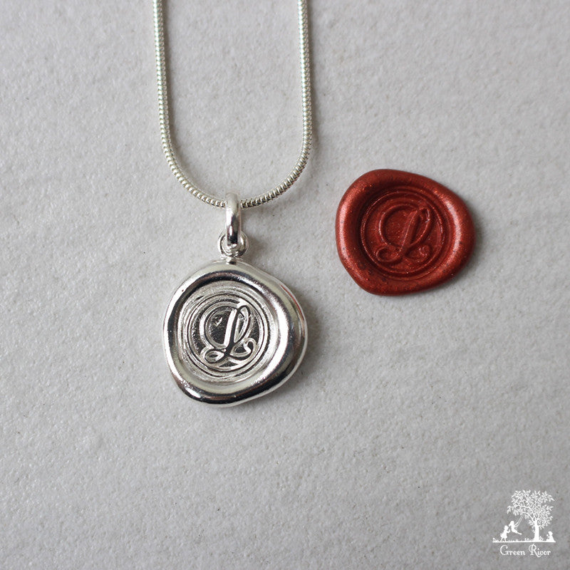 Sterling Silver Wax Seal Necklace - Initial Monogram L
