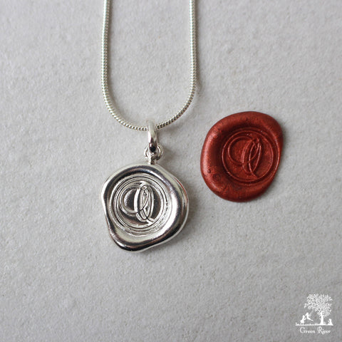 Sterling Silver Wax Seal Necklace - Initial Monogram O