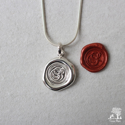 Sterling Silver Wax Seal Necklace - Initial Monogram S