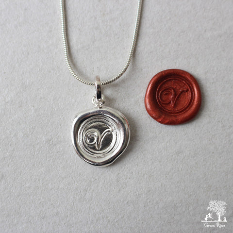 Sterling Silver Wax Seal Necklace - Initial Monogram V