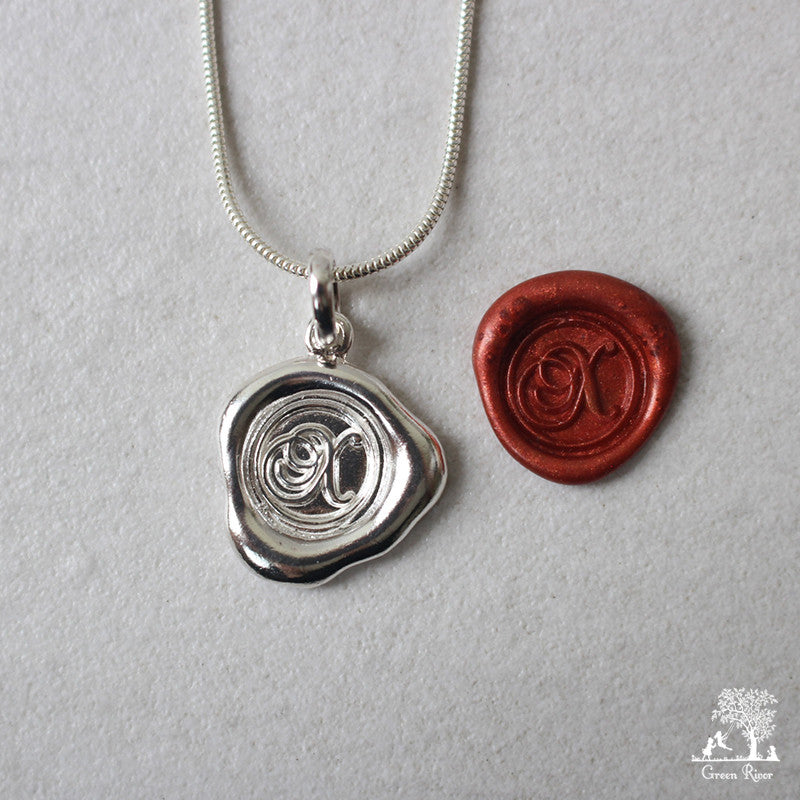 Sterling Silver Wax Seal Necklace - Initial Monogram X