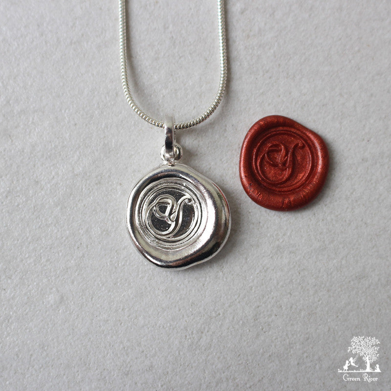 Sterling Silver Wax Seal Necklace - Initial Monogram Y