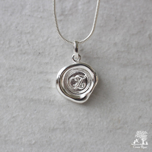 Sterling Silver Wax Seal Necklace - Initial Monogram Z