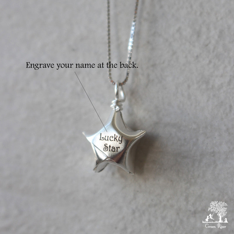 Silver Lucky Star Necklace/Origami Star Silver Necklace/Paper Star Necklace