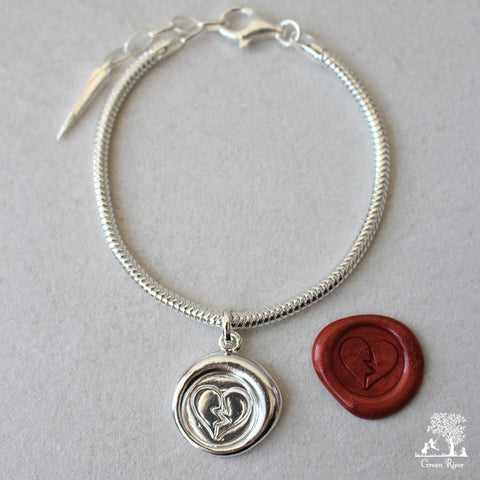 Broken Heart Sterling Silver Wax Seal Bracelet