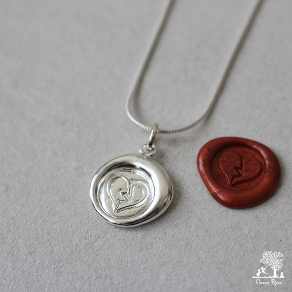 Broken Heart Sterling Silver Wax Seal Necklace