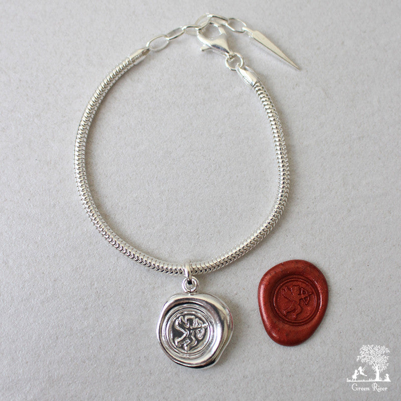 Cupid Sterling Silver Wax Seal Bracelet