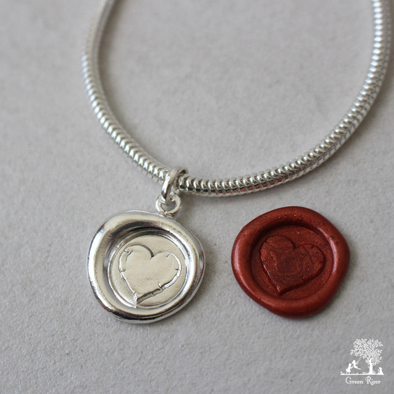 Love You Sterling Silver Wax Seal Bracelet