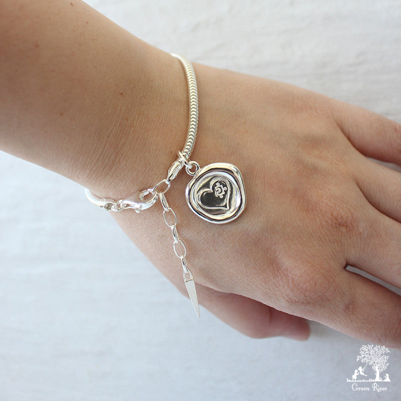 You Are My Missing Piece Sterling Silver Wax Seal Bracelet