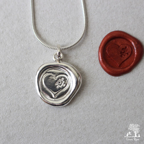 You Are My Missing Piece Sterling Silver Wax Seal Necklace