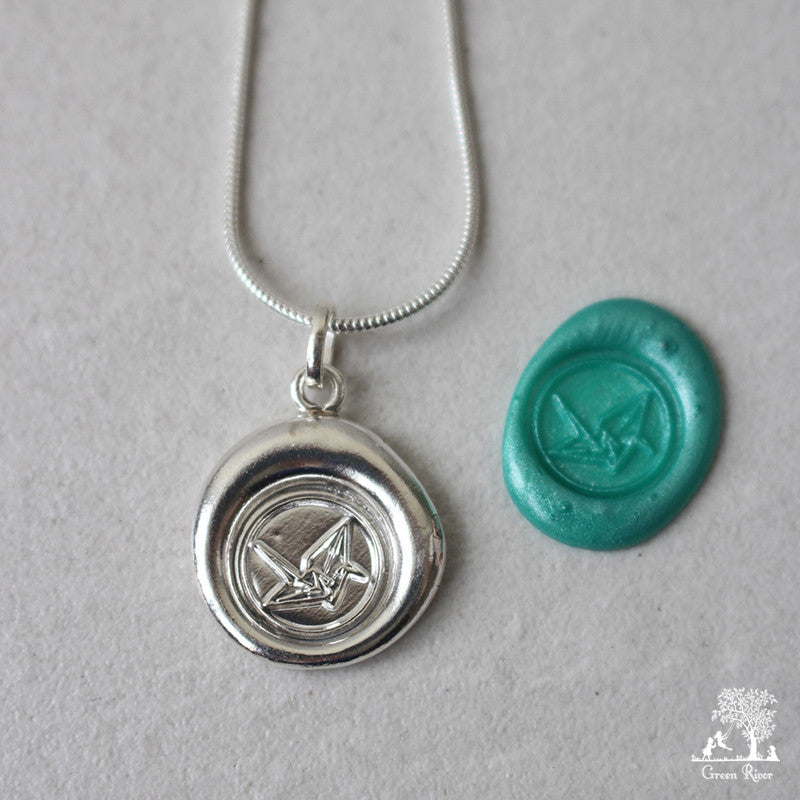 Origami Crane Sterling Silver Wax Seal Necklace