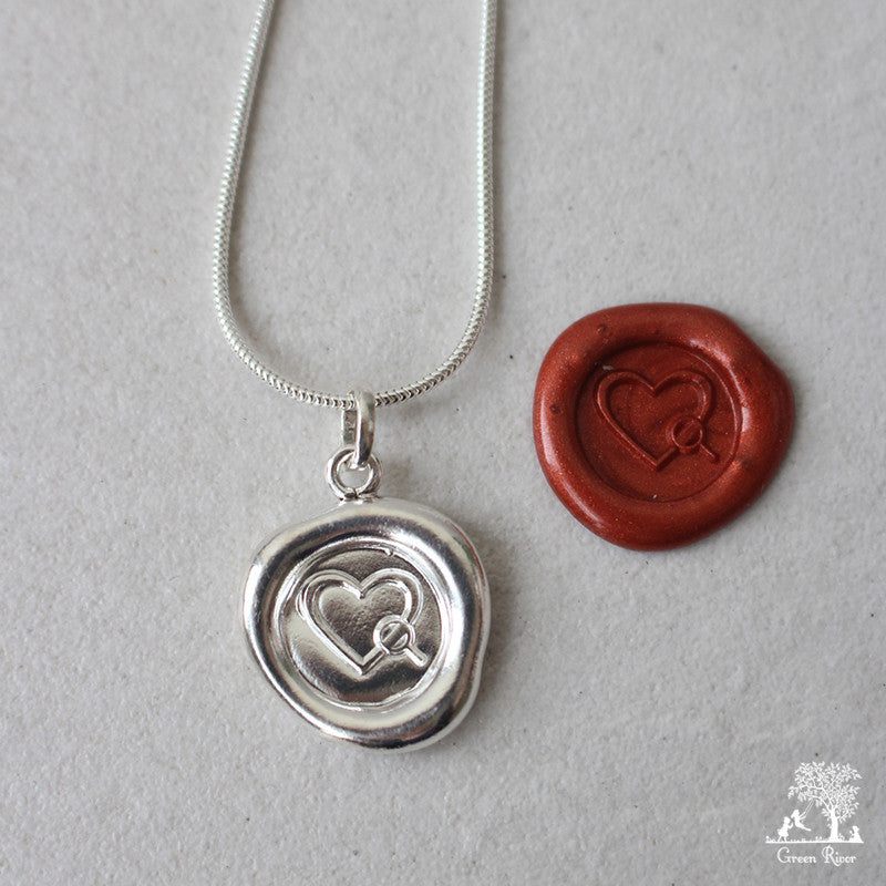 Somewhere Someone Is Looking For You too Sterling Silver Wax Seal Necklace
