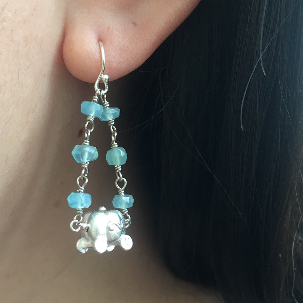 925 Silver Pumpkin Aquamarine Earrings